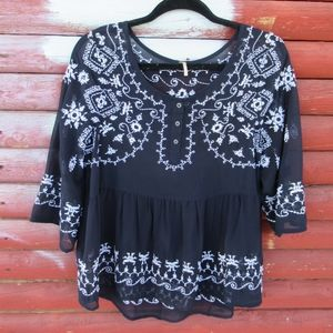 Free People Navy Blue and White Embroidered Top